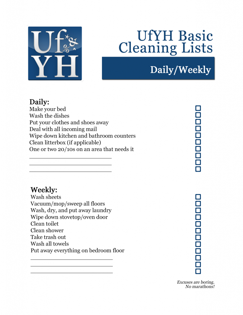 UfYH Daily/Weekly Checklist