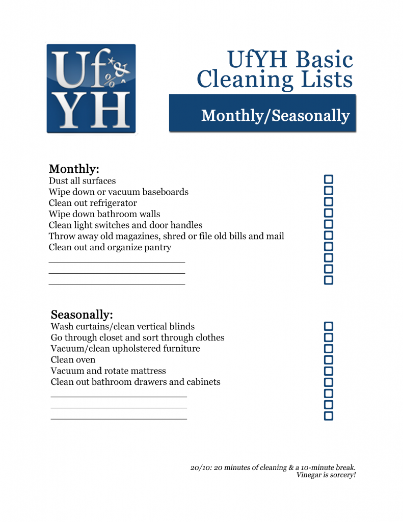 UfYH Monthly/Seasonally Checklist