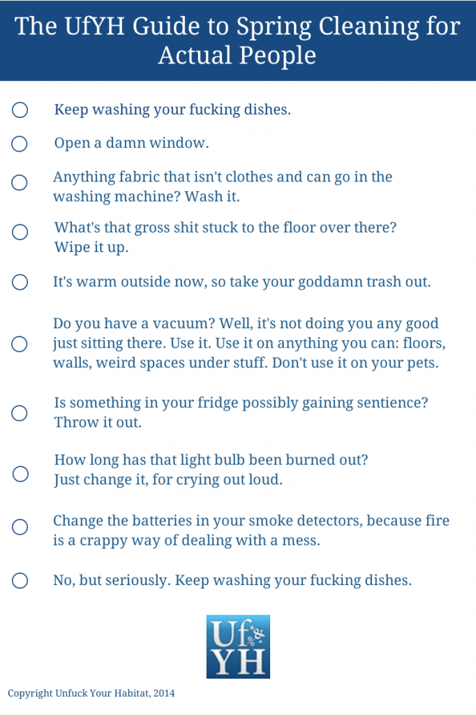 checklist for cleaning
